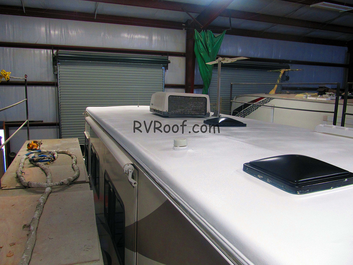 Finished-sprayed-rv-roof-with-our-trademarked-chemical-rv-flexarmor