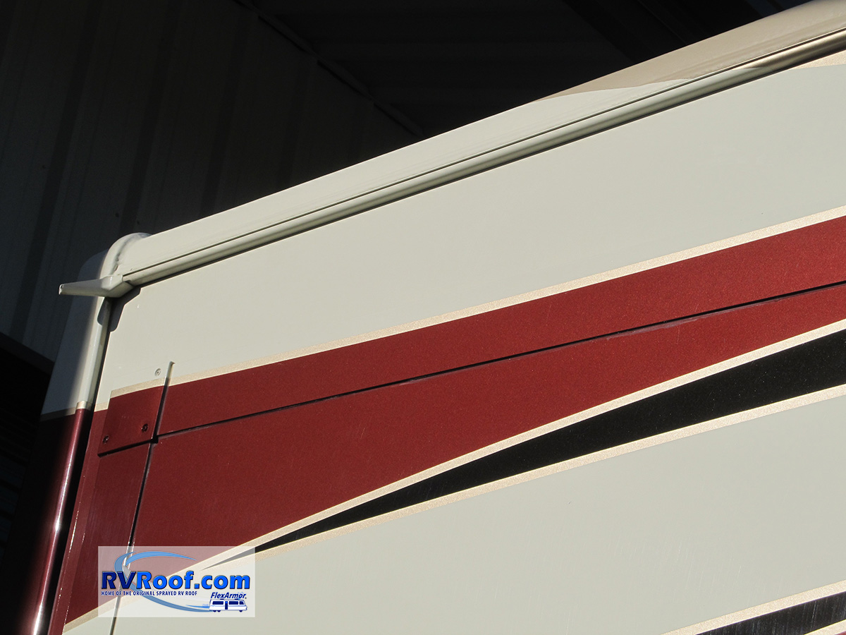 Custom color match on FlexArmor roof on a Redwood fifth wheel