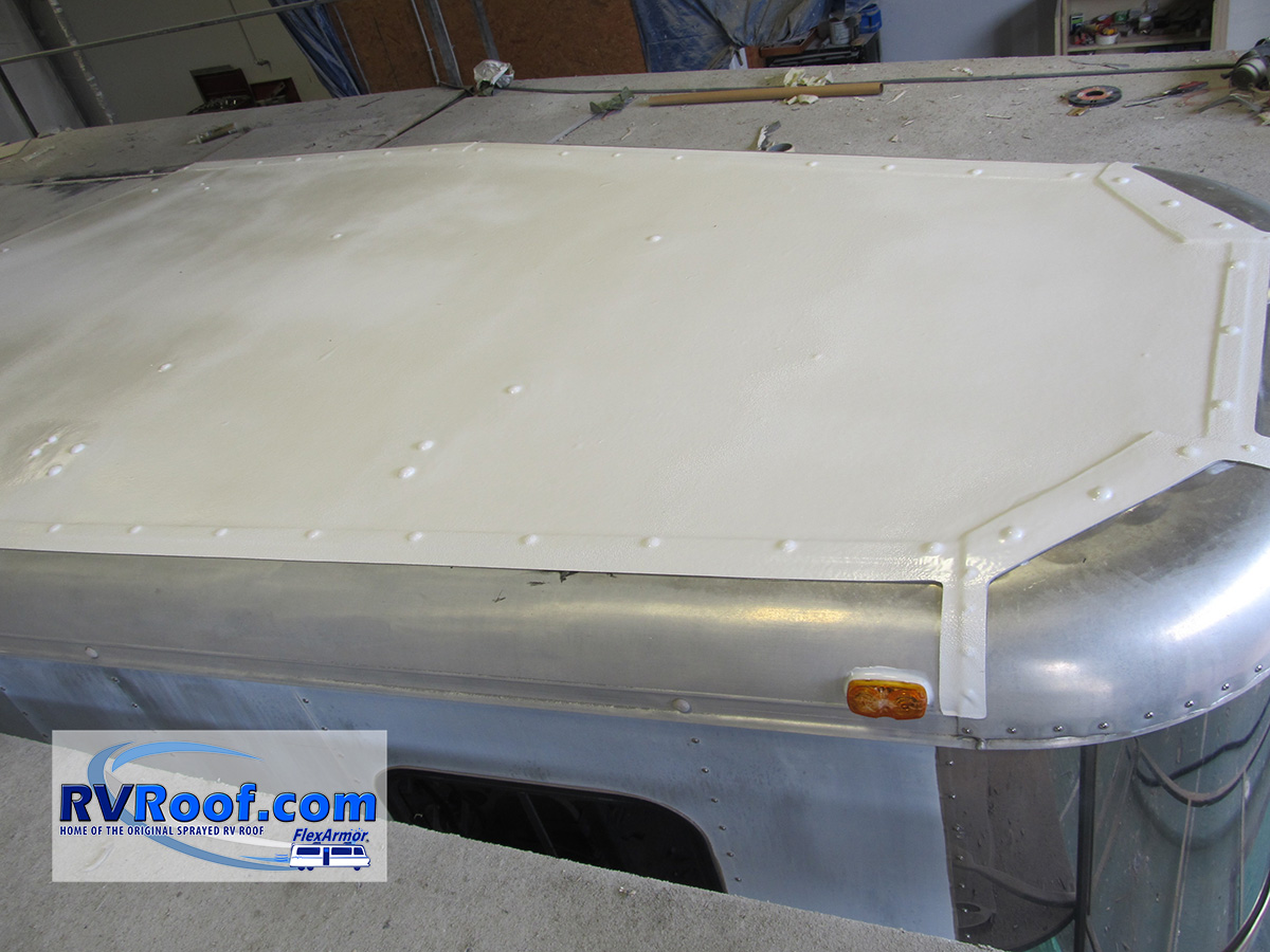 Finished horse trailer sealed with FlexArmor lifetime no leak sprayed roof