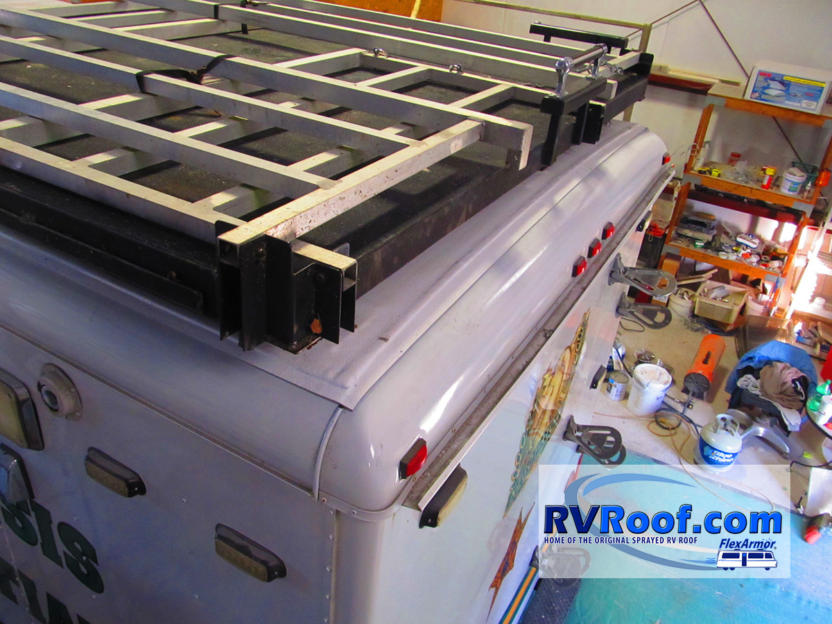 Observation deck after FlexArmor sprayed lifetime no leak guaranteed rv roof application