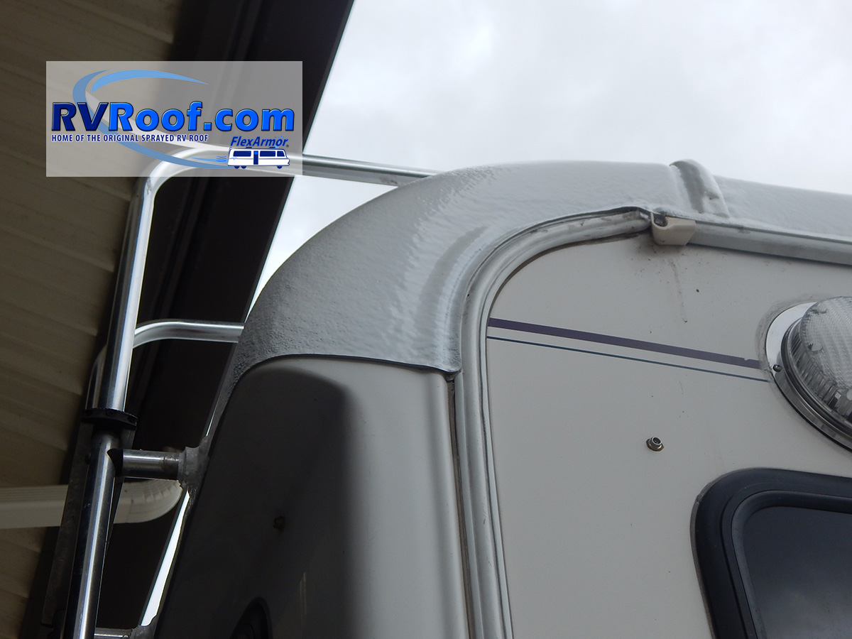 Rear corner sprayed rv roof on fifth wheel