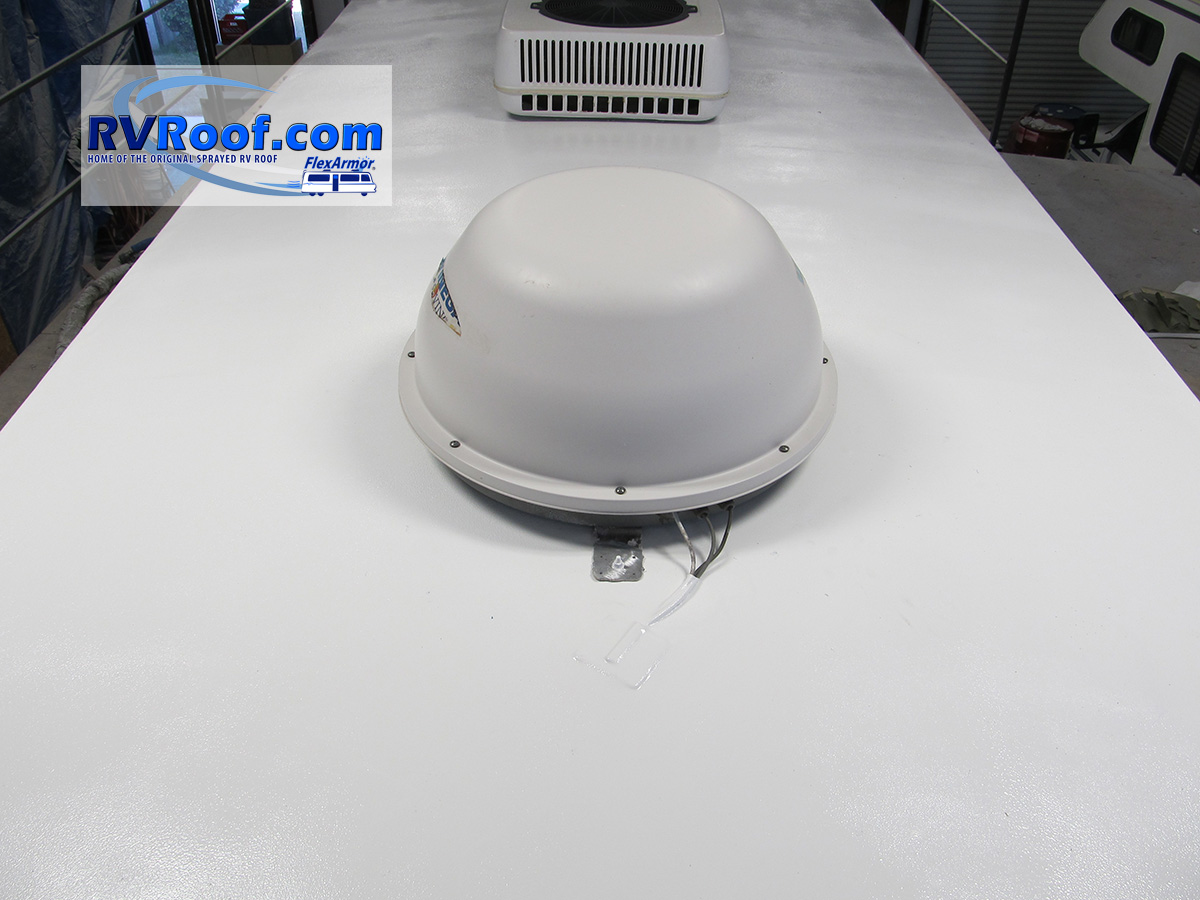 Satellite dish on FlexArmor rv roof