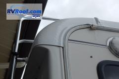Rear corner sprayed rv roof on fifth wheel