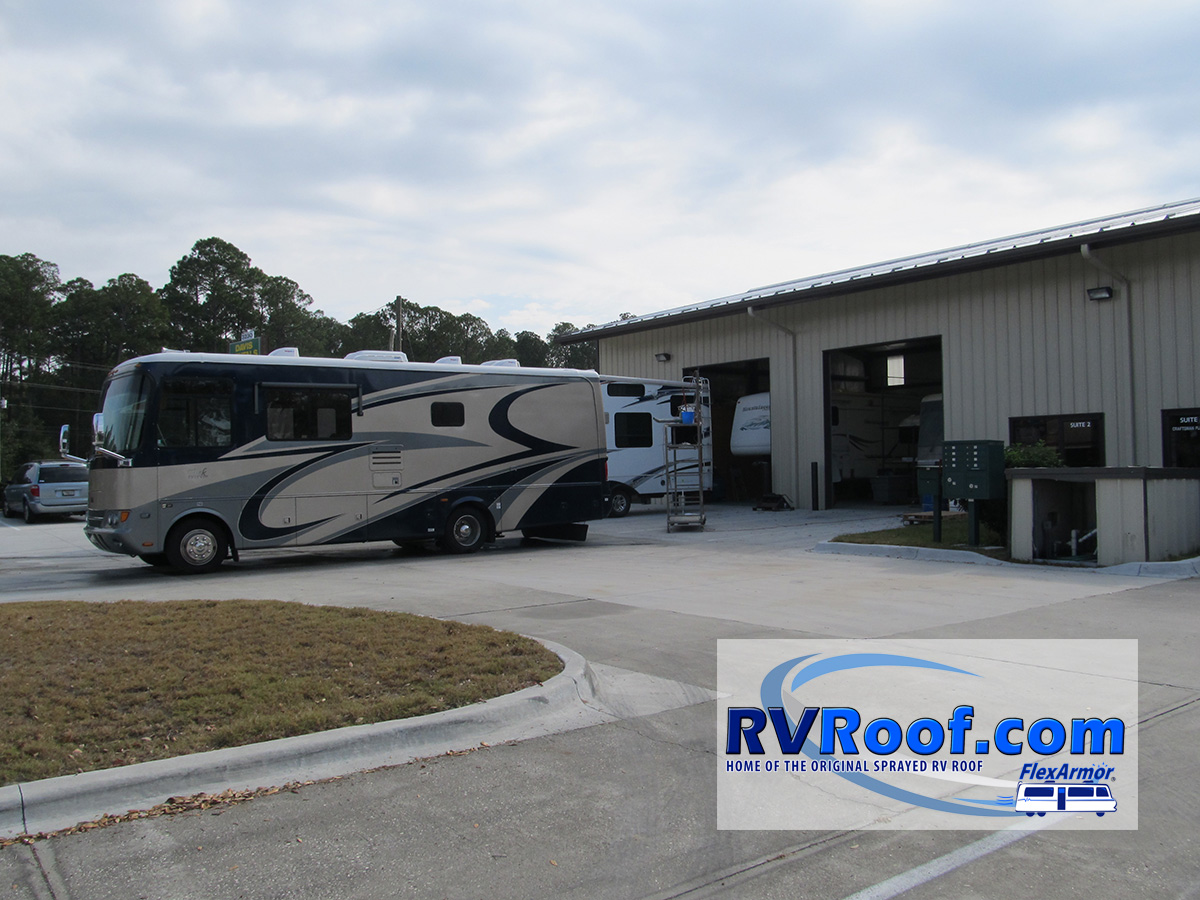 RVs in front of RVRoof shop waiting on FlexArmor roofs