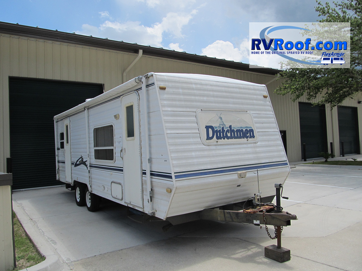 Travel Trailer with sprayed rv roof at FlexArmor location