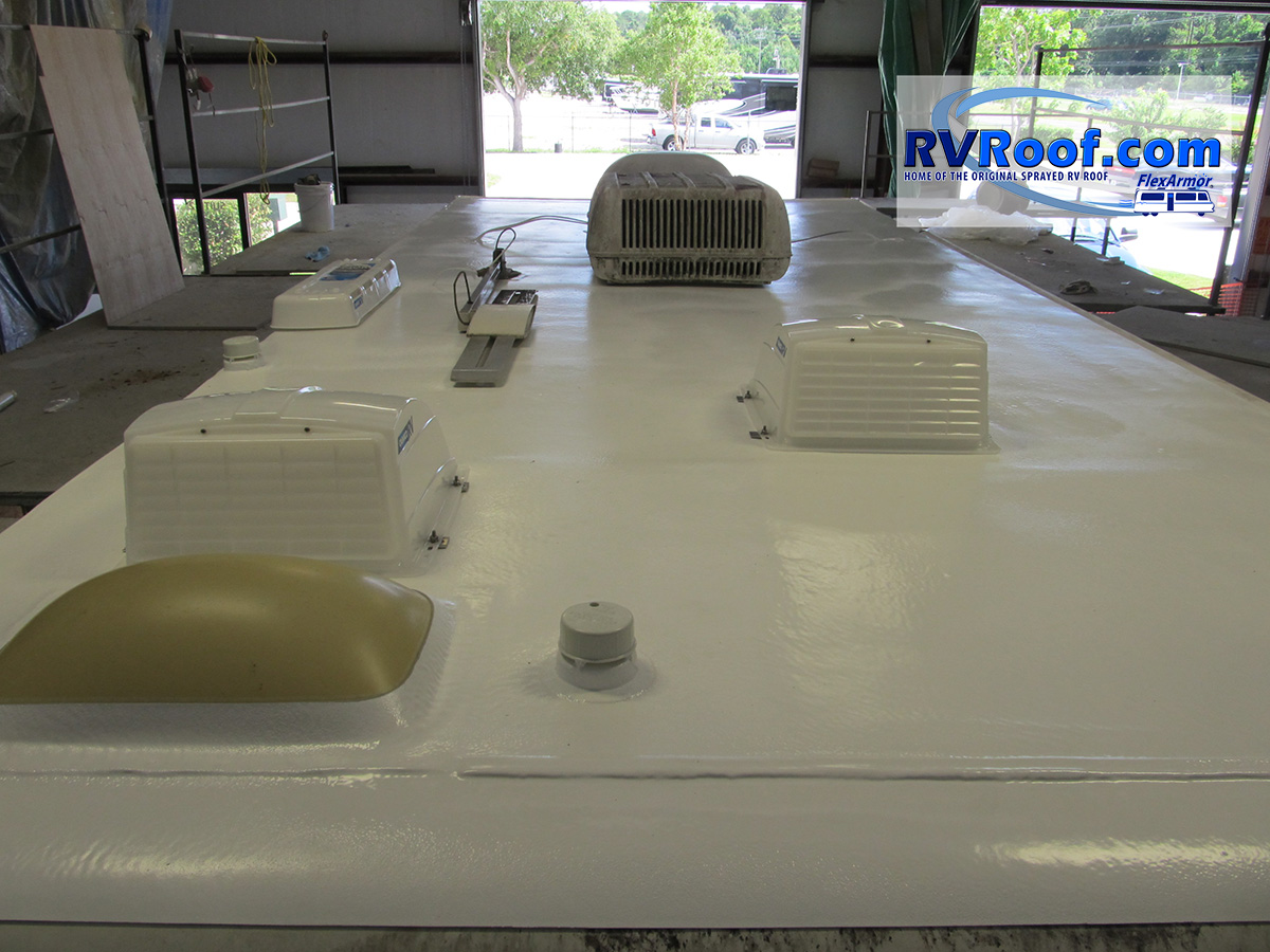 FlexArmor roof extending the life of an older travel trailer