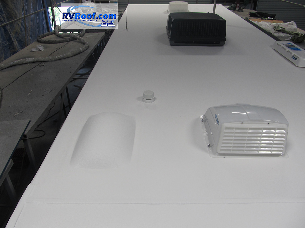 Travel trailer with sprayed roof FlexArmor