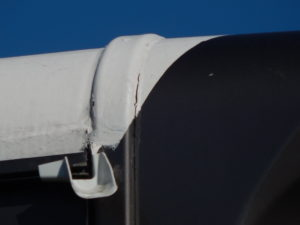 Rolled on rv roof solution showing wear