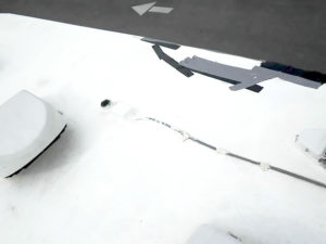 rv roof with tree damage