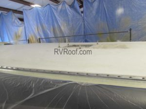 RV Roof being prepped for repair and application of FlexArmor sprayed on rv roof repair product