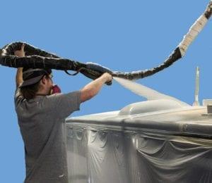 spraying FlexArmor roof