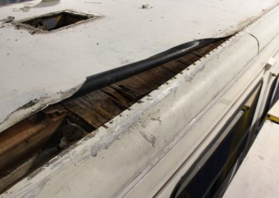 serious water damage on a class a rv roof