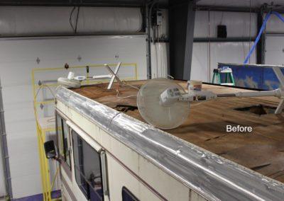 rebuilding rv roof before image