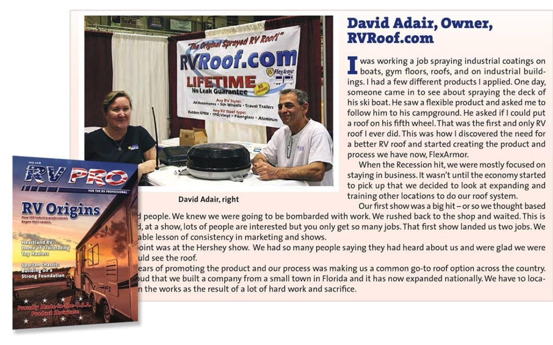 RVRoof.com is in RV Pro Magazine