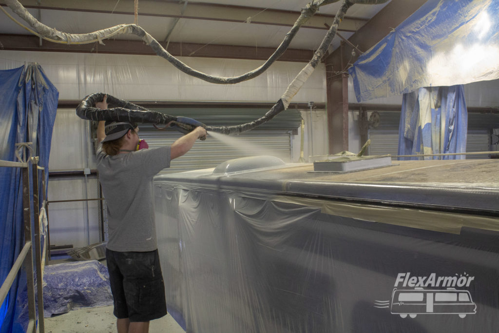 Rodney spraying rv roof with FlexArmor