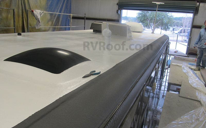 top of rv with color matched flexarmor rv roof